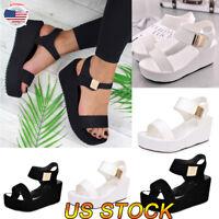 Fashion Women Summer Slippers Beach Shoes Hook & Loop Fasteners Block Sandals US