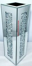 Diamond Crush Crystal Square Silver Mirrored Glass Sparkly Tall Vase 18x18xH60cm