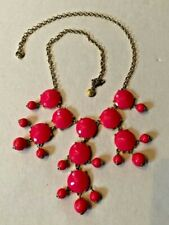 "REDUCED!!!  VINTAGE J. CREW ENAMEL- Hot Pink and ""Gold"" BUBBLE NECKLACE"