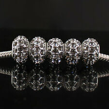 20Pcs Czech Crystal Spacer Big Hole European Charm Beads Findings Fit Bracelet