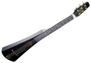 Shop4Omni Steel String Mini Backpacker Travel Guitar Black Traveler Bag Acoustic