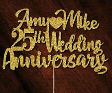 Personalised 25th Anniversary Cake Toppers Any Name Age Glitter Rose Gold #71