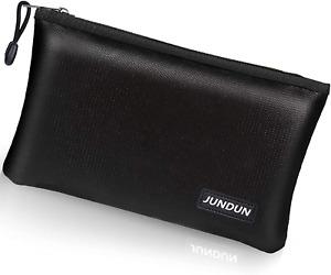 "JUNDUN Fireproof Money Bag, 10.6""x6.7"" Fireproof and Waterproof Cash Bag with A5"