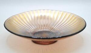 """Vintage Amethyst Carnival Glass 8.5"""" Bowl - Smooth Rays Pattern"""