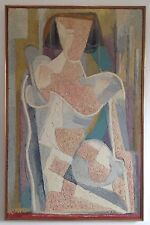 Raymond TRAMEAU Rare Grand Tableau HST 1967 Abstraction Cubiste Picasso 100x64cm