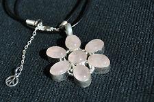 Rose Quartz Pendant with Silver Setting ~ Large Flower Design ~ Free Postage