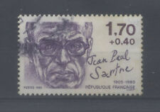 FRANCE TIMBRE OBLITERE N° 2357 PERSONNAGES CELEBRES 1985 JEAN PAUL SARTRE o2
