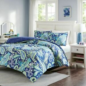 Chic Blue & Lime Green Paisley Print Reversible Comforter AND Decorative Shams