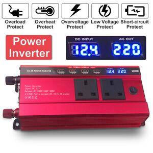 1500W Modified Sine Wave Car Power Inverter Peak DC 12V to 220V AC Converter UK