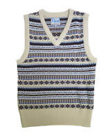 """1940s Forties Vintage Style Wartime WW2 Fairisle Tank Top Cream M 38-40"""" Chest"""