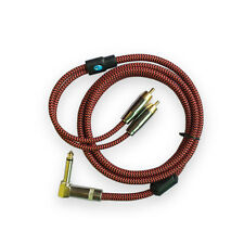 "Hifi 90 Degree Angle 1/4"" MONO Jack 6.35mm to 2 RCA Phono Bess Guitar Cable 1M"