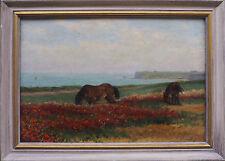 Tableau ancien Les chevaux sauvages en bord de mer Normandie (?) signé + cadre