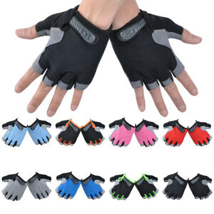 Cycling Fingerless Gloves Gel Padded Half Finger Glove Bicycle Bike Riding Mitts