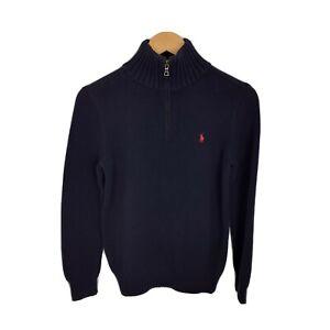 Ralph Lauren Womens Size 14-16 Large Navy Blue 1/4 Zip Knitted Jumper Sweater