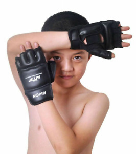 Boxing MMA Kids Gloves Training Half Finger Mitts Sparing Hands Knuckles Protect