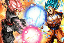 Dragon Ball Super Poster Goku Black Versus Goku Blue 12in x 18in Free Shipping