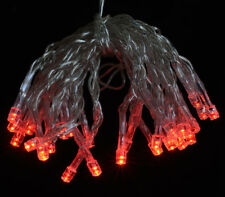 30 LED Red Mini String Lights, 10.8 FT Clear Cord, Battery Operated
