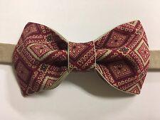 Custom Mens Burgundy Khaki Floral Bow Tie Pre-tied Adjustable Handmade bowtie