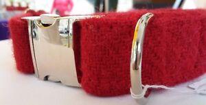 Red Harris Tweed dog collar & lead set  Clip buckle Free P&P
