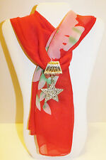 RHINESTONE STAR SLIDE PENDANT CHARM JEWELRY ON A SHEER RED SCARF WITH FLOWERS