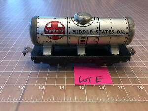 Marx O Train VERY CLEAN 553 Santa Fe Middle States Oil Tanker Tank Car Lot E