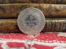 monnaie piece 5 F francs france argent hercule 1874 a