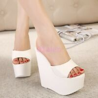 HOT Womens Super High Heel Platform Wedge Open Toe Slippers Mules Sandals Party