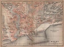 Brest ville city plan de la ville. finistère. rade de brest carte 1899 old map