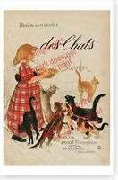 French Cats Kittens Milk Des Chats Theophile Steinlen Poster