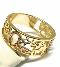 Tri-Color Gold Plated Lucky Symbols Ring Anillo De Suerte Oro Laminado