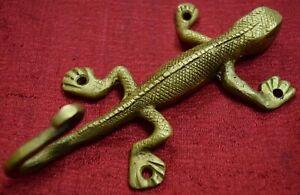 Wall Hanging Decor Hook Lizard Shape Cloth Hat Hanger Brass Handmade Gift VR653