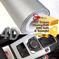 "108"" x 60"" Premium Gloss Silver Carbon Fiber 4D Vinyl Film Wrap Air Bubble Free"