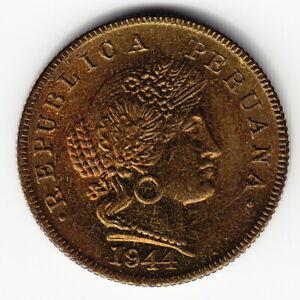 PERU 20 centavos 1944 KM221.1 Brass Lima Mint 3-year type VERY RARE in TOP GRADE