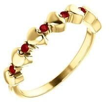 14K Yellow Gold Stackable Ruby Heart Ring