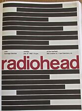 Radiohead  Band  Mini Concert Poster Reprint 1997 SF CA Optical Art 13x10