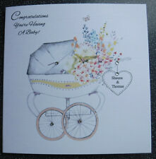HANDMADE PERSONALISED HAVING A BABY/PREGNANCY CONGRATULATIONS CARD,PRAM DESIGN