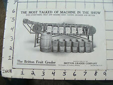 Original Vintage AD SHEET: 1800's The Britton Fruit Grader Rochester NY
