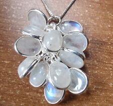 Moonstone 12-Gem Cluster 925 Sterling Silver Necklace