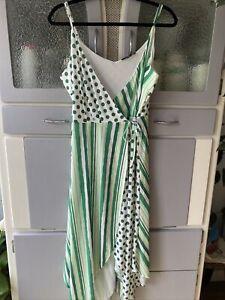 New Kaleidoscope Green Wrap Summer Midi  Dress Size 14