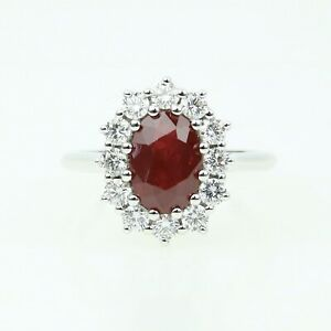 18ct White Gold Diamond & Ruby Cluster Ring. 2.20ct Oval Pigeon Blood Ruby