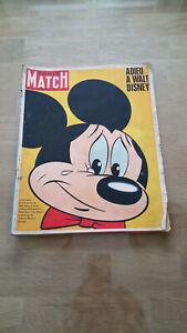 Paris Match N°924 1966 Adieu à Walt Disney