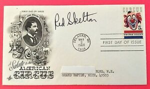 RARE *RED SKELTON* AUTOGRAPHED CLOWN USA FIRST DAY COVER 1966 CIRCUS STAMP