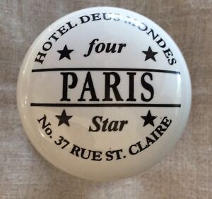 Paris FRANCE White Porcelain Door Knob As Is