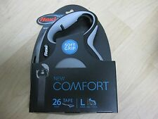 New - Flexi Comfort Retractable 26 ft Tape Dog Leash, Large, Black Grey