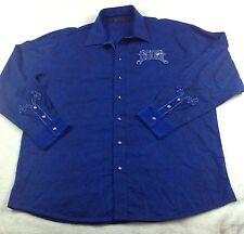 Coogi Long Sleeve Button Up Long Sleeve Shirt XXL Royal Blue Velvet Trim Wild