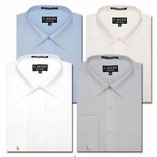 C. Allen Mens Plain Basic Dress Shirt French Cuff White Blue Grey Ivory