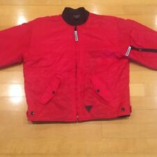 GUESS JEANS Red Satin Bomber Jacket Triangle Question Mark Large