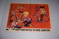 """1966 DISNEY BICYCLE SAFETY KEEP YOUR BICYCLE IN GOOD SHAPE 18""""X13 JIMINY CRICKET"""