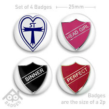 "St Trinians Fancy Dress Badge SINNER Sexy -1"" Badge x4 Badges NEW"