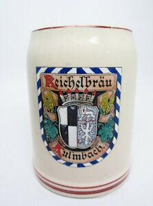 Beer Stein Vintage Germany Marzi Remy Signed 1/2 L Cream Reichelbrau Kulmbach